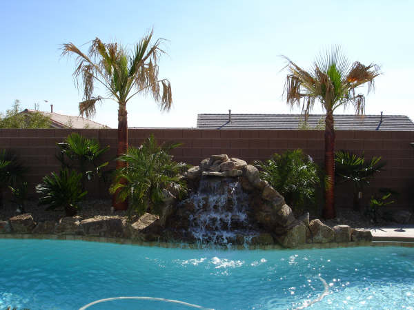 Rock Fountain into pool with Palms