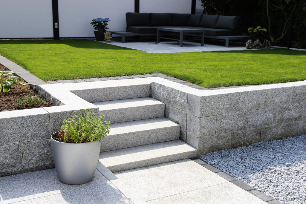 granite wall and solid block steps